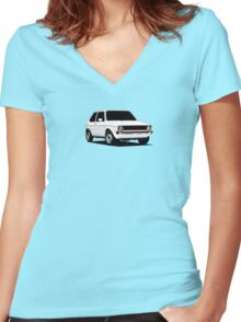 MK1 3/4 view Women's Fitted V-Neck T-Shirt