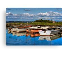 Boats in natural harbor Canvas Print
