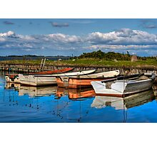 Boats in natural harbor Photographic Print