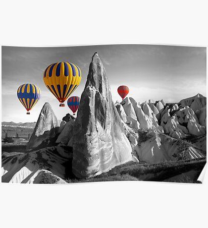 Hot Air Balloons Over Capadoccia Turkey Poster