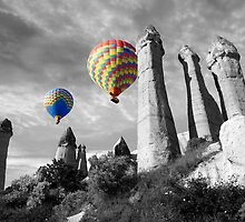 Hot Air Balloons Over Capadoccia Turkey - 2 by Paul Williams