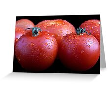 Wet whole tomatos Greeting Card