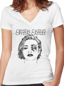 Crystal Castles Shirt RETRO Women's Fitted V-Neck T-Shirt