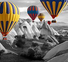 Hot Air Balloons Over Capadoccia Turkey - 3 by Paul Williams