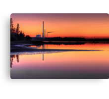 Scenic view of Power Plant in sunset Canvas Print