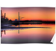 Scenic view of Power Plant in sunset Poster