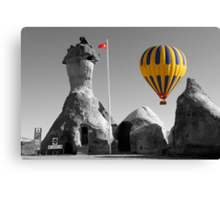 Hot Air Balloons Over Police Station Capadoccia Turkey -  Canvas Print