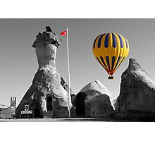 Hot Air Balloons Over Police Station Capadoccia Turkey -  Photographic Print