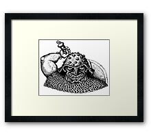 Fantasy Viking black and white pen ink drawing Framed Print