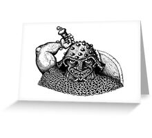 Fantasy Viking black and white pen ink drawing Greeting Card
