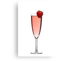 Red champagne drink with Strawberry Canvas Print