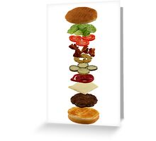 Isometric exploded view of hamburger ingredients Greeting Card