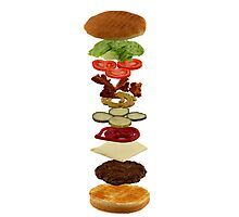 Isometric exploded view of hamburger ingredients Photographic Print