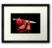 Fresh tomatoes and knife Framed Print