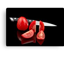 Fresh tomatoes and knife Canvas Print