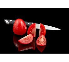 Fresh tomatoes and knife Photographic Print