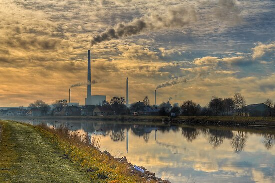 View to power plant across a channel by Gert Lavsen