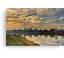 View to power plant across a channel Canvas Print