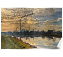 View to power plant across a channel Poster