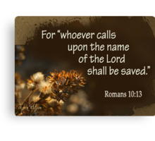 Saved ~ Romans 10:13 Canvas Print