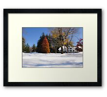 Autumn and Winter converge Framed Print