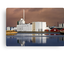 Harbour Building with reflections Canvas Print