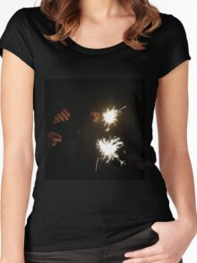 Sparklers on Black Women's Fitted Scoop T-Shirt