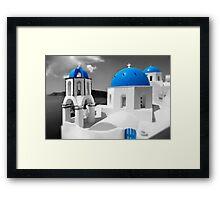 'Blue Domes' - Greek Orthodox Churches of the Greek Cyclades Islands - 4 Framed Print