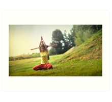 Yoga with kids in the park Art Print