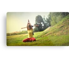 Yoga with kids in the park Metal Print