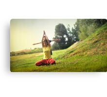 Yoga with kids in the park Canvas Print