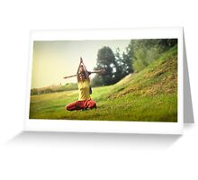 Yoga with kids in the park Greeting Card