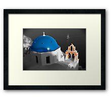 'Blue Domes' - Greek Orthodox Churches of the Greek Cyclades Islands - 8 Framed Print