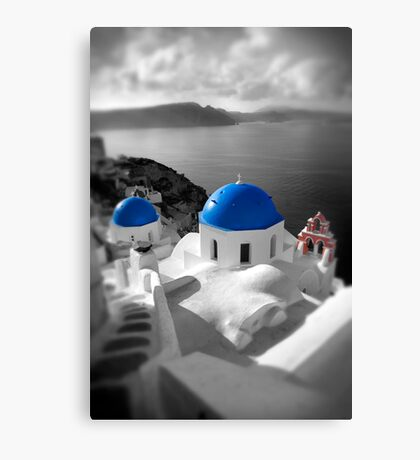 'Blue Domes' - Greek Orthodox Churches of the Greek Cyclades Islands - 9 Canvas Print