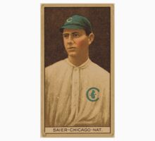Benjamin K Edwards Collection Victor Saier Chicago Cubs baseball card portrait Kids Tee