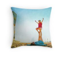 Ustrasana, Girl practicing Yoga poses in a blue sky   Throw Pillow