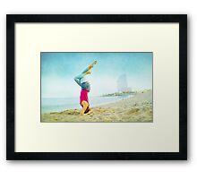 Yoga in the beach, Barcelona Framed Print