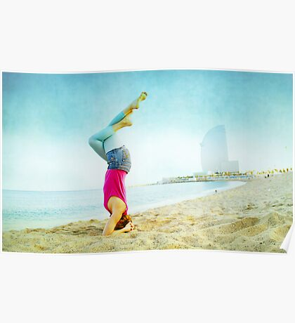 Yoga in the beach, Barcelona Poster