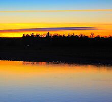 Fading late December light over the River Tees by Ian Alex Blease