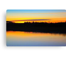 Fading late December light over the River Tees Canvas Print