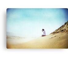 Prayer position, Yoga by the beach Canvas Print