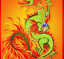 Flaming Dragon Poster by Lotacats