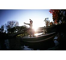 Acroyoga in the lake, central park, new york Photographic Print