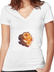 PEACH ROSE WITH YELLOW HIGHLIGHTS Women's Fitted V-Neck T-Shirt