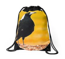 Yellow field Magpie home Drawstring Bag
