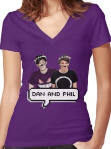 Dan and Phil - Flower Text Women's Fitted V-Neck T-Shirt