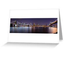 Manhattan At Night Panorama 1 Greeting Card