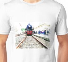Steam locomotive in station Unisex T-Shirt