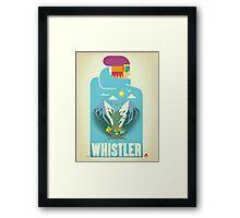 """""""Blue Bird"""" Whistler, BC Travel Poster Framed Print"""