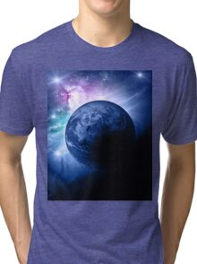 Earth and Nebula iPhone and iPad Case Tri-blend T-Shirt